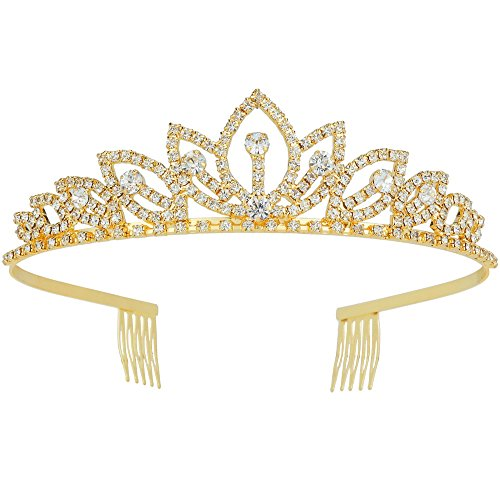 Wedding Tiara with Comb Bridal Shining Rhinestones Crystal Headband Pageant Princess Bridal Prom Decoration Party Wear ()