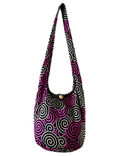 Hot Pink Crossbody Bag Hippie Hobo Shoulder Thai Boho Sling Purse for Women Medium (Swirl Dot Hot Pink)