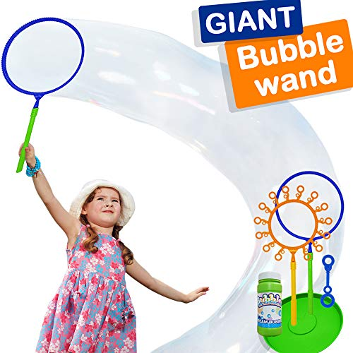 Giant Bubble Wand Set: Big Bubble Maker Toy for Kids and Adults, Fun Outdoor and Indoor Activity for Girls, Boys, Toddlers and Children to Enjoy]()