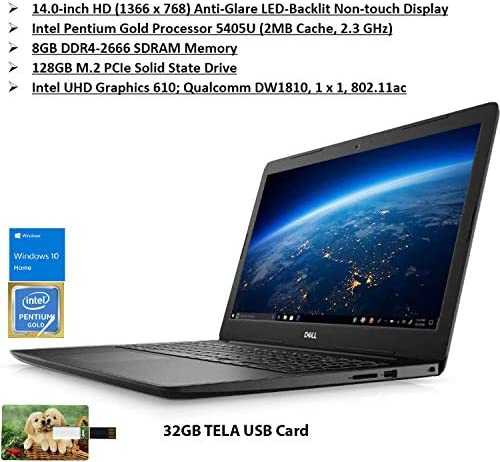 2020 Newest Dell Inspiron 14in | HD Intel Pentium Gold 5405U 8GB RAM 128GB