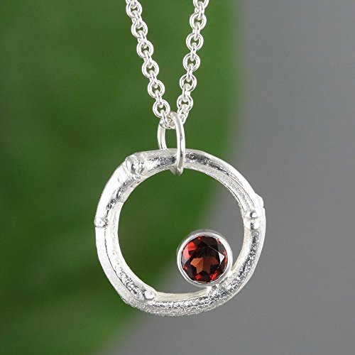 (Twig Circle Necklace with Garnet - Natural Sterling Silver Branch Pendant)