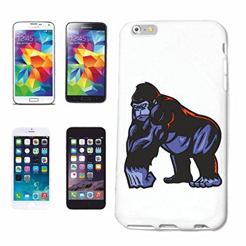 """cas de téléphone iPhone 6+ Plus """"MIGHTY GORILLA MONKEY MONKEY GORILLA CHIMP SILVER RETOUR APE CHARLY MONKEY KING KONG"""" Hard Case Cover Téléphone Covers Smart Cover pour Apple iPhone en blanc"""