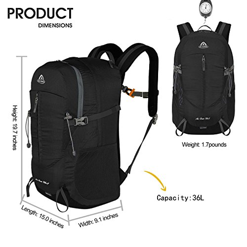 3 Black AI Men Outdoor Backpack Cycling Way ONE Women for C Foldable Packable Camping on Carry 36L School ggtwZ