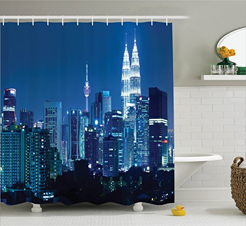 Fabric Shower Curtain Set by Ambesonne, Kuala Lumpur Skyline at Night KLCC Twin Towers Malaysian Landmark Monochromic Photo, Fabric Bathroom Decor with Hooks, 70 Inches, Navy - Women Malaysian Pictures