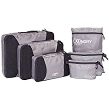 NEXTOUR Packing Organisers 6pcs Value Set, Packing Cube 3pcs PLUS Laundry Bag,Toiletry and Digital Accessories Pouch for Travel Luggage Backpack(Grey)