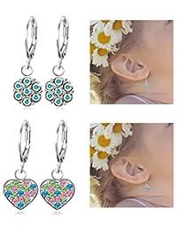 Thunaraz 2 Pairs Stainless Steel Leverback Earrings for Girls Heart Dangle Drop Childrens Earrings Flower Crystal Earrings for Kid