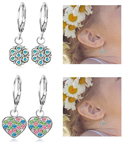 JOERICA 2 Pairs Stainless Steel Leverback Earrings for Girls Heart Dangle Drop Childrens Earrings Flower Crystal Earrings for Kid. (Heart Leverback Childrens Earrings)