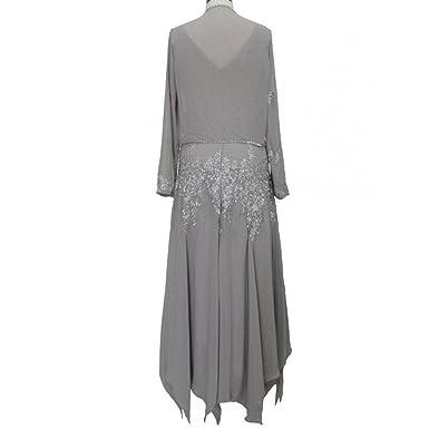veiai Damen bestickt Chiffon Tee Länge Mutter der Braut Kleid mit ...