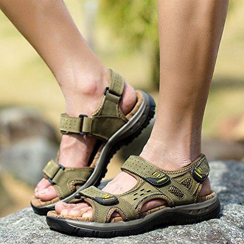 Lässige Männer Sandalen, Sommer Männer Leder, Sandstrand Schuhe,Die Grüne Karte,Eu42