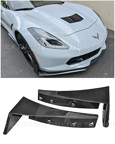 for 2014-2019 Chevrolet Corvette C7 | EOS Z06 Stage 3 Style ABS Plastic Painted Carbon Flash Metallic Front Bumper Lower Splitter Side Extension Winglets