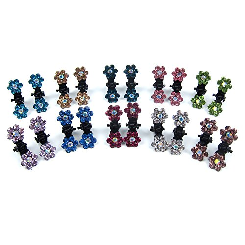 Alfie Pet by Petoga Couture - Dasie Rhinestone Flower Hair Clip 20-Piece Set for Dogs, Cats and Small Animals