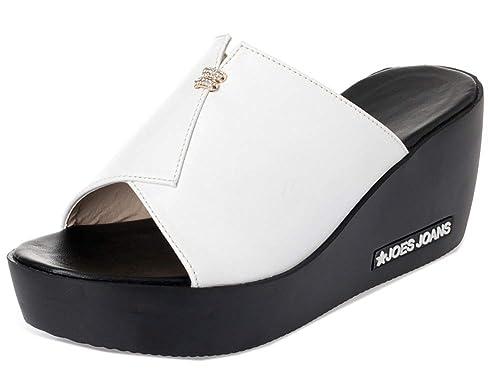 5b242b71f99ee Easemax Femme Simple Chaussure Compensée à Enfiler Outdoor Mules Blanc 35 EU