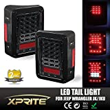 Xprite Clear Lens Red LED Tail Light Assembly w/ Turn Signal & Back Up For Jeep Wrangler JK JKU 2007 - 2016