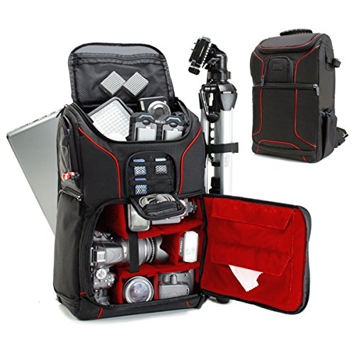 Digital SLR Camera Backpack (Red) w/ Padded Custom Dividers , Tripod Holder , Laptop Compartment , Rain Cover and Accessory Storage by USA Gear for for Nikon , Canon , Sony , Pentax and Many More (Photo Slr Backpack)
