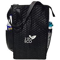 Bolsa de almuerzo con aislamiento 2GOECO Enfriador de vino Tote Porta botella de agua alto reutilizable para adultos Hombres Mujeres | Negro