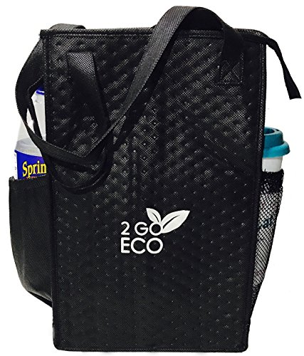Lunch Box Drink (2GOECO Insulated Lunch Bag Wine Cooler Tote Reusable Tall Water Bottle Carrier For Adults Men Women | Black)