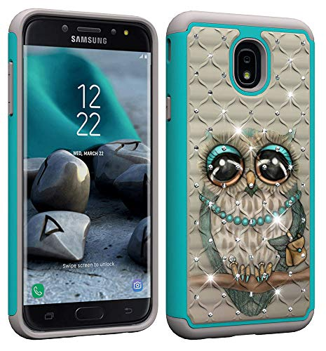 (NVWA Compatible Samsung Galaxy J7 2018 Case,J7 Aero/J7 Star/J7 Top/J7 Crown/J7 Aura/J7 Refine/J7 Eon Cover Heavy Duty Dual Layer Rubber Hybrid Hard Plastic Soft Back Protective Bling Diamond Gray Owl)
