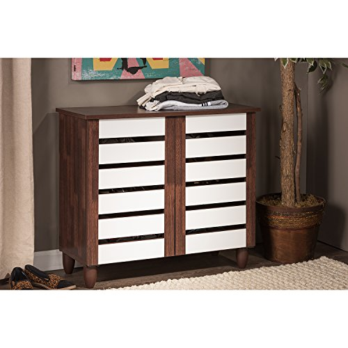 2 Door Contemporary Cabinet (Wholesale Interiors Baxton Studio Gisela Oak and White 2-Tone Shoe Cabinet with 2)