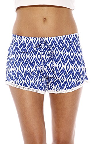 Just Love High Waisted Women Shorts - Summer Pom Pom Beach Shorts,Blue/white Aztec,Large,Blue/White Aztec,Large
