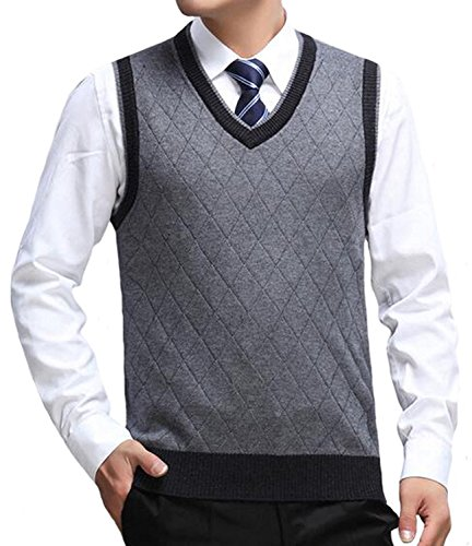 Discount Kaured Stylist Men's V-Neck Business Gentleman Pattern Knitted Sweater Vest free shipping