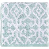 Better Homes & Gardens Thick and Plush Jacquard Bath Collection Hand Towel, Aquifer/White