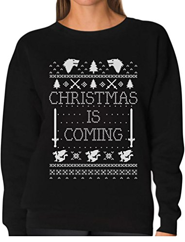 Christmas Sweater Ideas (TeeStars - Christmas Is Coming Ugly Christmas Sweater Women Sweatshirt Medium Black)