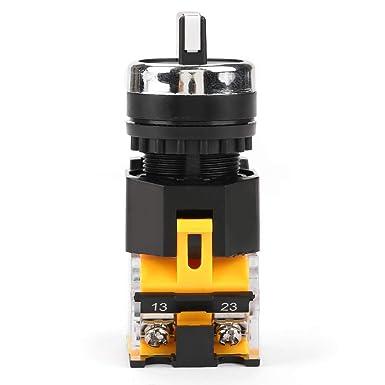 Interruttore Rotante Auto-Ripristinabile a Foro di Montaggio da 22mm Selettore Rotativo Momentaneo LA38-20BX33 Mini 3 Posizioni