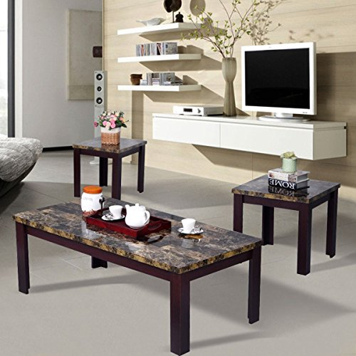 MasterPanel - 3 Piece Faux Marble Coffee Table Set Living Room Sofa Accent End Corner Cherry #TP3246 (Italian Marble Coffee Table compare prices)