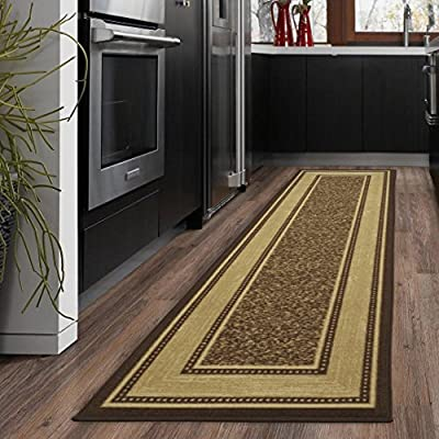 "Ottomanson Ottohome Contemporary Bordered Design Modern Area Rug, 8'2""W x 9'10""L with Non-Skid Rubber Backing, Chocolate"