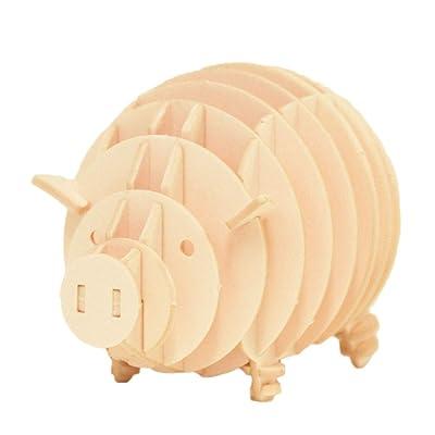 JIGZLE Pig 3D Paper Puzzle DIY Kit - Laser Cut Miniature Animals : Toys & Games