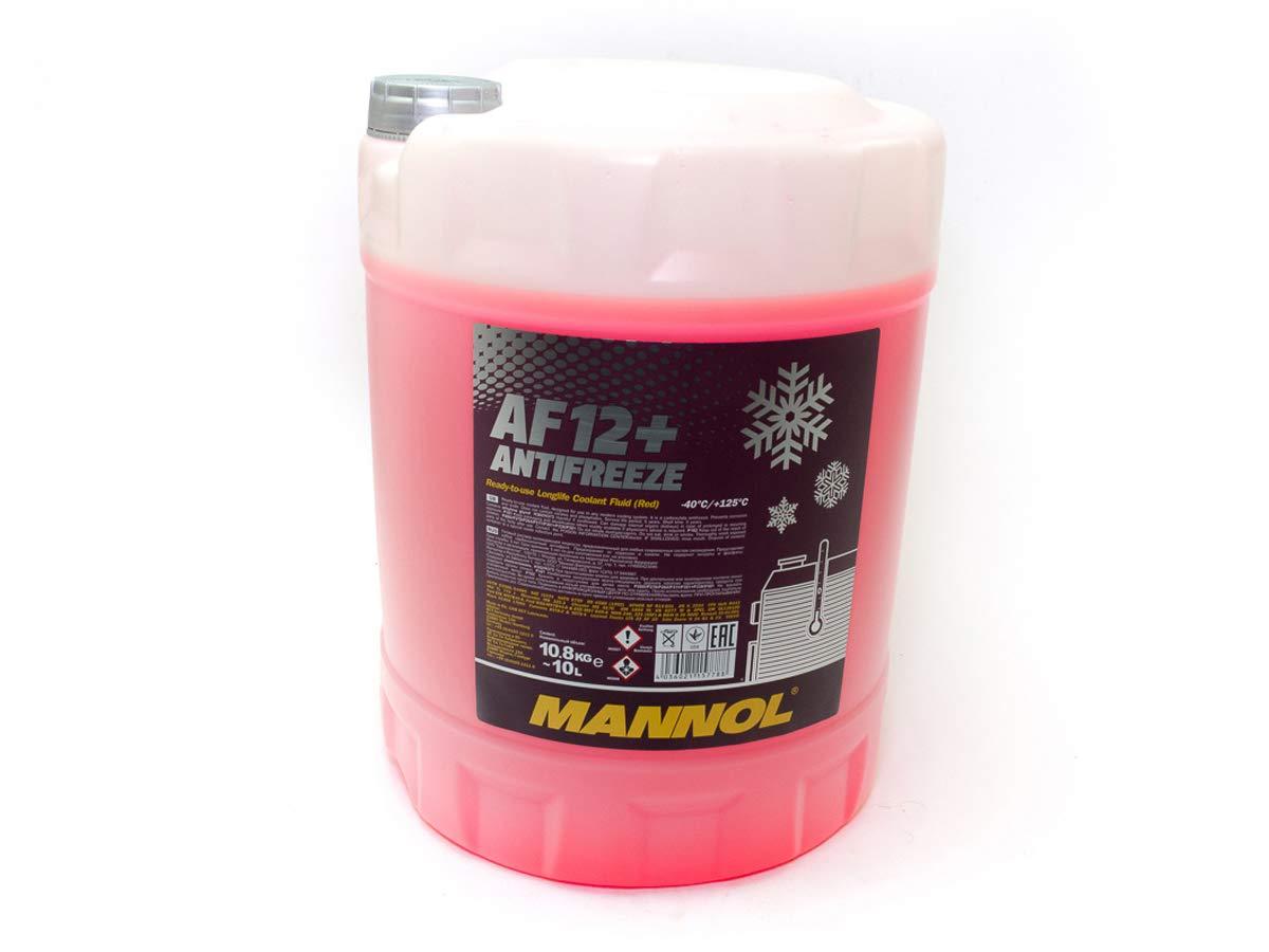 Mannol, liquido antigelo AF12+, da 10 l, di colore rosso, fino a -40 ° C, per protezione antigelo G12+ fino a -40°C SCT GERMANY