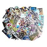 Aswneco Fortress Night Sticker 50 Sheets Random Music Film Vinyl Skateboard Guitar Travel Case Sticker Door Laptop Luggage Car Bike Bicycle Stickers