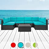 Walsunny 7pcs Patio Outdoor Furniture Sets,Low Back All-Weather Rattan Sectional Sofa with Tea Table&Washable Couch...