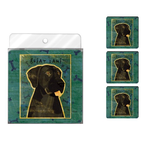 - Tree-Free Greetings NC38069 John W. Golden 4-Pack Artful Coaster Set, Black Great Dane No Crop