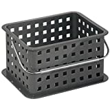 bathroom container storage - InterDesign Storage Organizer Basket, for Bathroom, Health and Beauty Products - Small, Slate