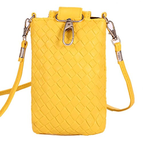 Womens Pouch Change PU Loose Bag Wallet Leather Yellow for Crossbody Vintage Purse Cellphone Bifast 7qSgwg