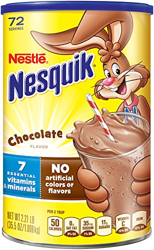 Nesquik Powdered Drink Mix Canister, Chocolate, 35.5 Ounce (Pack of 6) Nesquik Chocolate Drink Mix