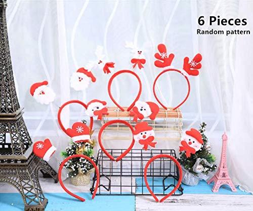 6 Packs Christmas Headbands, Magnoloran Christmas Santa Claus Decoration Accessories Hair Band Head Boppers Hair Accessories for Cosplay Christmas Party Supplies