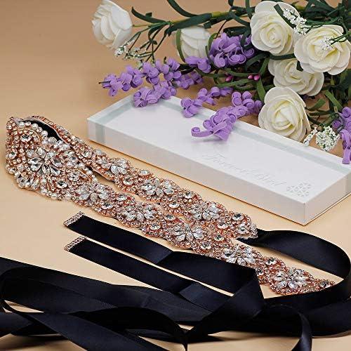 ForeverBird Long Rhinestone Wedding Belt Crystal Sash Belts for Bridal Bridesmaid Gowns Dresses (RosegoldNavyBlue Ribbon)
