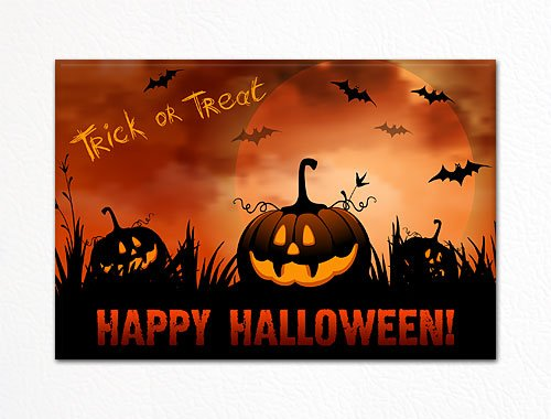 Halloween Pumkin Patch Trick or Treat Fridge Magnet
