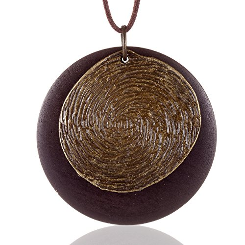 Coostuff 2018 Handmade Wood Pendant vintage necklace for women Jewelry (Brown Wood Necklace)