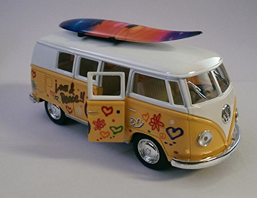 1:32 Scale VW Camper Van Hippy Bus Diecast Toy Model With Surf Board & Pull Back Action (Van Hippy)