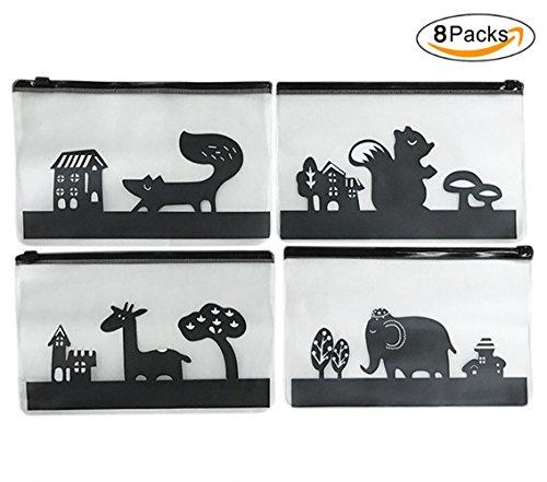 Frosted Plastic Envelopes (8 PCS Cute Cartoon Animals File Bag Waterproof PVC Plastic Pencil Pouch Pen Holder Cosmetics Organizer)
