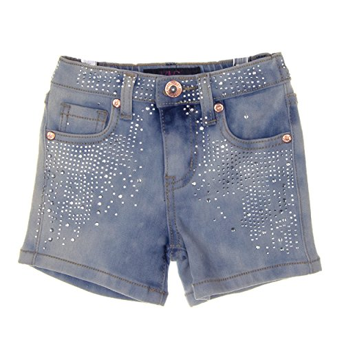 Lavo Girls Beautiful Rhinestone Denim Short Short Blue (Rhinestone Girls Jeans)