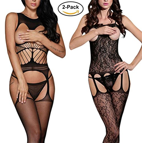 en's Open Bust Bodystocking Crotchless Striped Lingerie Bodysuit (Black3) (Open Bust Bodystocking)