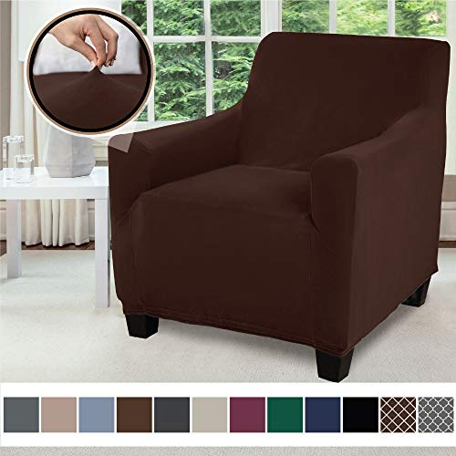 Gorilla Grip Original Velvet Fitted 1 Piece Chair Slipcover, Stretch Up to 23 Inches, Soft Velvety Covers, Luxurious Armchair Slip Cover, Spandex Chairs Furniture Protector, with Fasteners, Chocolate (Slipcovers For Living Room Chairs)