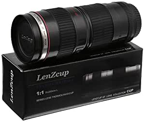 Fotodiox Thermo LenzCup - Stainless Steel Insulated Tumbler, Coffee, and Refreshment Mug - Canon EF 70-200mm f/4L USM (1:1 Black) Replica, 16oz