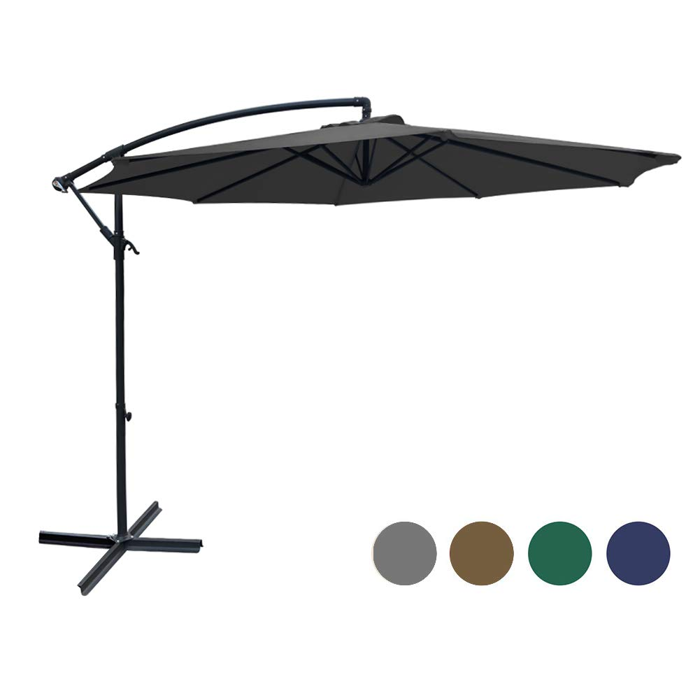 SUNGREEN Offset Patio Umbrella 10ft Hanging Umbrella Outdoor Market Cantilever Umbrella with Umbrella Cover Crank Lift & Cross Base for Garden Backyard Deck and Poolside-Grey by SUNGREEN