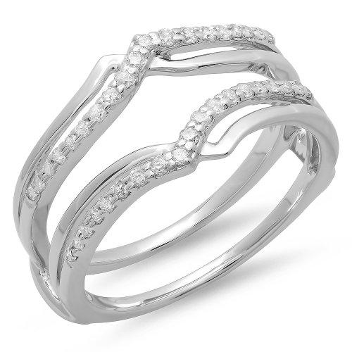 0.25 Carat (ctw) 14K White Gold Diamond Ladies Wedding Band Enhancer Guard Ring 1/4 CT (Size 6)