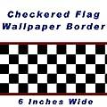 Checkered Flag Cars Nascar Wallpaper Border-6 Inch (Red Edge)